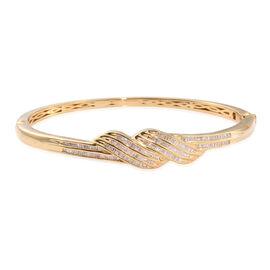 Designer Inspired Diamond Bangle (Size 7.5) in 14K Gold Overlay Sterling Silver 1.010 Ct. Silver wt 20.81 Gms.