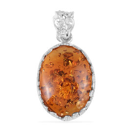 Baltic Amber Solitaire Pendant in Rhodium Plated Sterling Silver