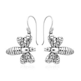 Royal Bali Collection - Sterling Silver Bee Hook Earrings, Silver wt 6.10 Gms