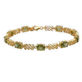 Super Auction- Hebei Peridot (Ovl 7x5 mm) Bracelet (Size 7.5 with Extender) in Yellow Gold Overlay S