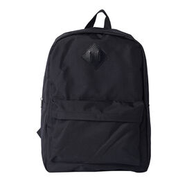 Solid Black Backpack with Zipper Closure (Size 30x11x40cm)