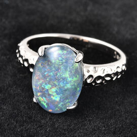 RACHEL GALLEY One Off Kind Collection- Boulder Opal Ring in Rhodium Overlay Sterling Silver