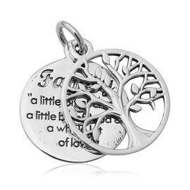 Tree of Life and Engraved Pendant in Sterling Silver 3.16 Grams