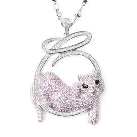 Simulated Multi Colour Gemstone Pretty Cat Pendant with Chain in Silver Tone