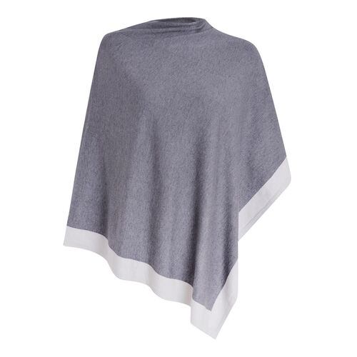 Kris Ana Coloured Border Poncho One Size (8-20) - Navy and Grey