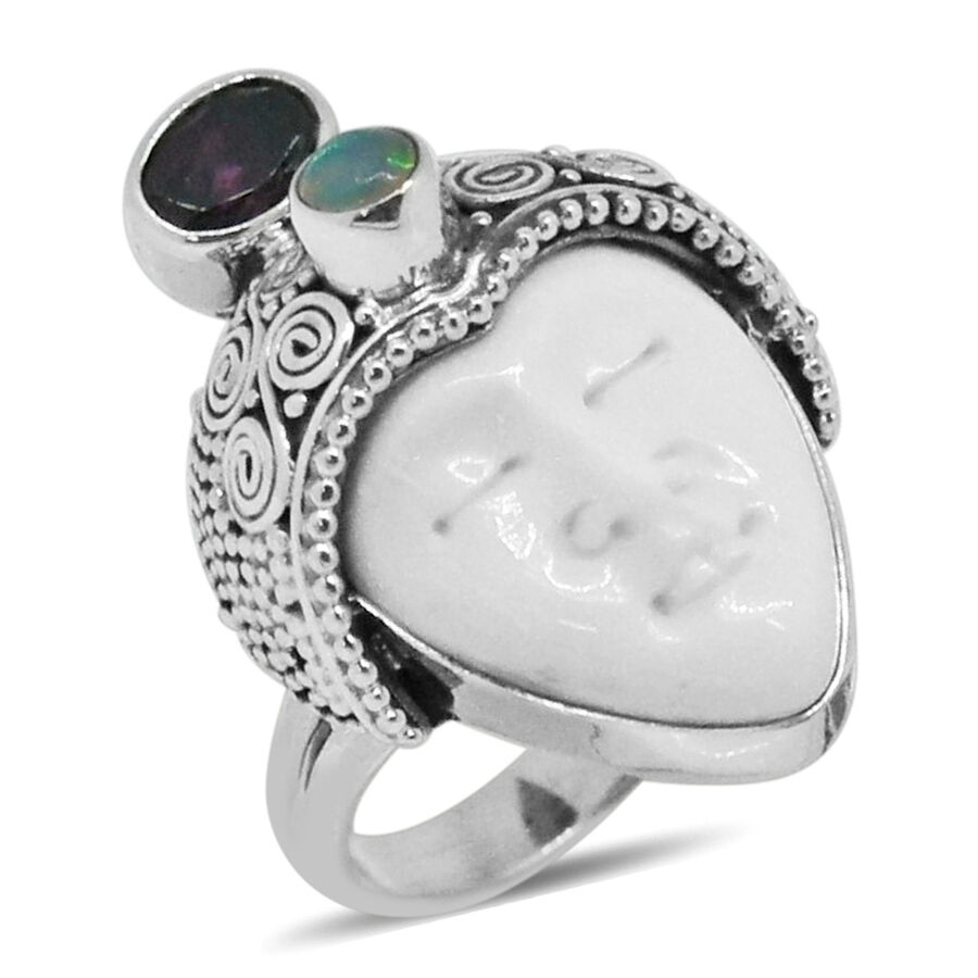 Princess Bali Collection Ox Bone Carved Face Ovl Rare Mozambique Grape Colour Garnet And Ethiopian Welo Opal Ring In Sterling Silver 8 370 Ct Silver Wt 8 20 Gms M2858524 Tjc
