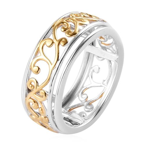 Platinum and Yellow Gold Overlay Sterling Silver Ring, Silver wt. 3.00 Gms