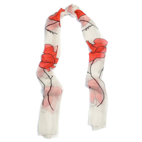 TJC POPPY COLLECTION 100% Mulberry Silk Red Poppy Flower Pattern White Colour Scarf (Size 180X50 Cm)