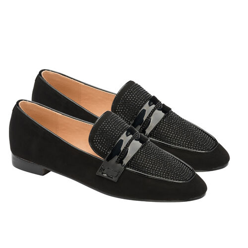 Ravel Black & Diamante Luis Loafers (Size 3)