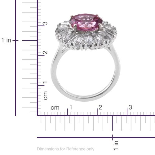 New York Close Out-Martha Rocha Colour Topaz (Rnd 4.55 Ct), and White Topaz Floral Ring in Platinum Overlay Sterling Silver 7.250 Ct.
