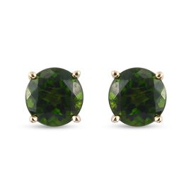 9K Yellow Gold Russian Diopside Stud Earrings (with Push Back) 1.74 Ct.
