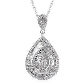 1 Carat Diamond Teardrop Cluster Pendant with Chain in Platinum Plated Silver 6.30 Grams 20 Inch