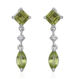 Chinese Peridot (2.48 Ct),Cambodian White Zircon Sterling Silver Earring  2.580  Ct.