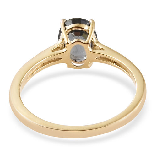 9K Yellow Gold AAA Platinum Grey Spinel (Ovl) Ring 1.500 Ct.