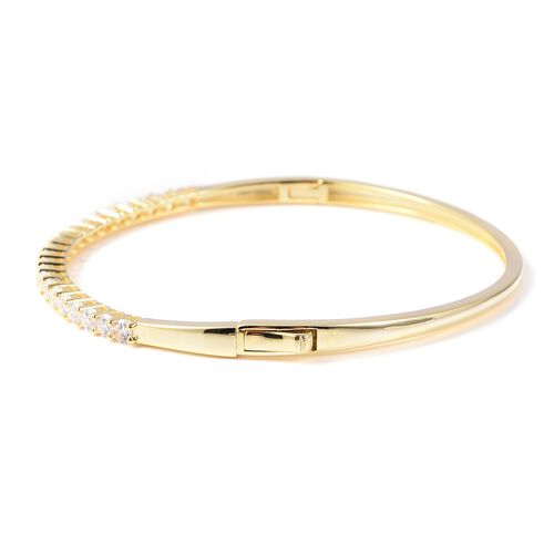 ELANZA Simulated Diamond (Rnd) Bangle (Size 7.5) in Yellow Gold Overlay Sterling Silver, Silver wt 10.08 Gms