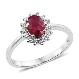RHAPSODY 950 Platinum 1 Carat AAAA Burmese Ruby Halo Ring with Diamond (VS/E-F)
