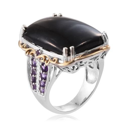 Shungite (Ovl 19.00 Ct), Amethyst Ring in Platinum and Yellow Gold Overlay Sterling Silver 20.00 Ct, Silver wt 9.90 Gms.