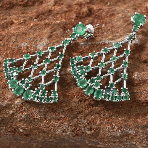 Kagem Zambian Emerald (Rnd) Chandelier Earrings (with Push Back) in Platinum Overlay Sterling Silver 3.650 Ct, Silver wt 8.05 Gms.