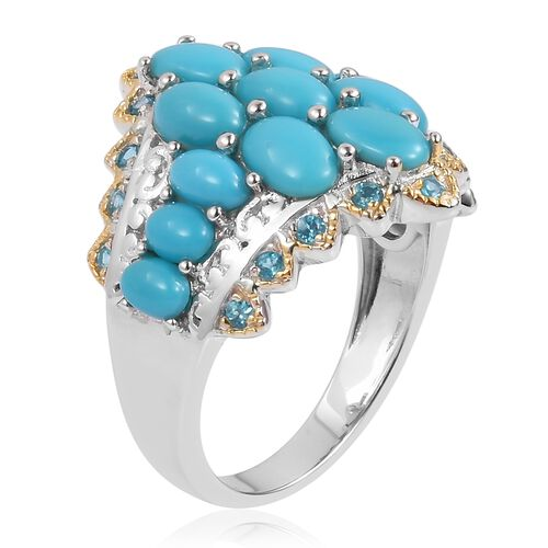 Arizona Sleeping Beauty Turquoise (Ovl), Malgache Neon Apatite Ring in Yellow Gold Overlay Sterling Silver 3.480 Ct. Silver wt 6.19 Gms.