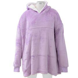 DOD - Flannel Sherpa Family Blanket Sweatshirt (Size 95x78.5 Cm) - Purple