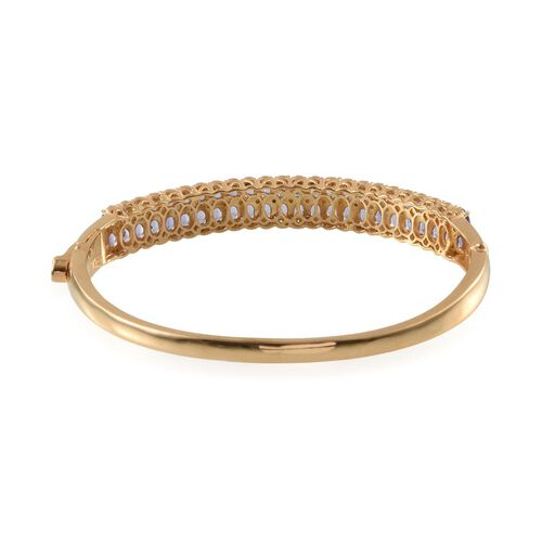 Tanzanite (Ovl), Diamond Bangle (Size 7.5) in 14K Gold Overlay Sterling Silver 9.020 Ct.