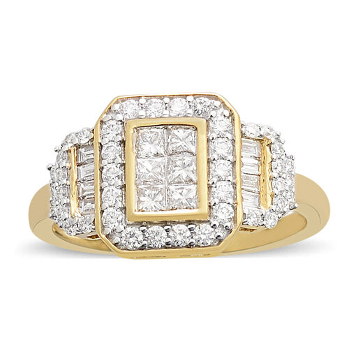 ILIANA 18K Yellow Gold IGI Certified Diamond (Princess Cut) (SI/ G-H) Ring 1.000 Ct., Gold wt 5.07 Gms.