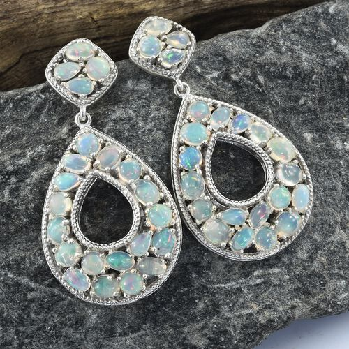 Ethiopian Welo Opal (Ovl, Rnd and Pear) Teardrop Earrings (with Push Back) in Platinum Overlay Sterling Silver 7.250 Ct. Silver wt. 13.00 Gms.