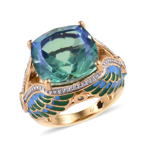 GP Peacock Quartz (Cush 14x14 mm), Green Sapphire and Kanchanaburi Blue Sapphire Ring in 14K Gold Ov
