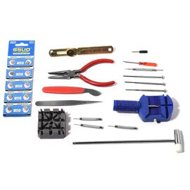 Comprehensive 16 Piece Watch Repair Tool Kit including 10 watch Batteries in Storage Case