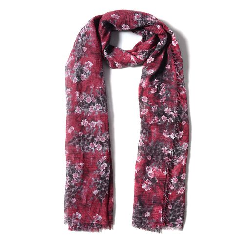 Wine Red and Grey Colour Scarf with Small White Flower Pattern ( Size 180x90 Cm)