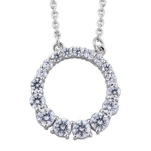 J Francis - Platinum Overlay Sterling Silver (Rnd) Circle of Life Necklace (Size 18) Made with SWAROVSKI ZIRCONIA