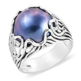 Royal Bali Collection Mabe Blue Pearl (Rnd 14-15 mm) Ring in Sterling Silver, Silver wt 5.87 Gms