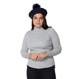 Winter Faux Fur Pompom Hat with beads (Size 52 Cm) - Navy