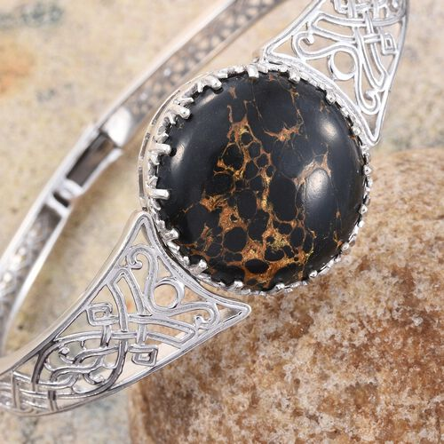 Designer Inspired-Arizona Mojave Black Turquoise (Rnd) Bangle (Size 7.5) in Platinum Overlay Sterling Silver 30.000 Ct.Silver WT 28.00 Gms