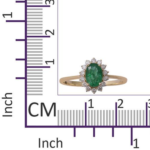 9K Yellow Gold Kagem Zambian Emerald (Ovl 7x5mm), Natural Diamond Ring 1.00 Ct.