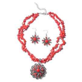 2 Piece Set - Red Howlite Hook Earrings and Necklace (Size 18 with 2.5 Extender) in Black Tone Stain