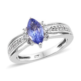Tanzanite (Mrq), Natural Cambodian Zircon Ring (Size R) in Platinum Overlay Sterling Silver 1.000 Ct.