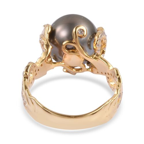 Tahitian Pearl (Rnd 10-11mm), Natural White Cambodian Zircon Ring in Yellow Gold Overlay Sterling Silver