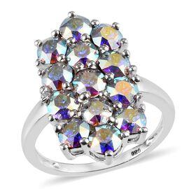 J Francis - Crystal from Swarovski AB Crystal (Rnd) Cluster Ring in Sterling Silver