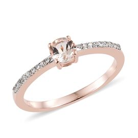 Marropino Morganite (Rnd), Natural Cambodian Zircon Ring in Rose Gold Overlay Sterling Silver 0.750 Ct.