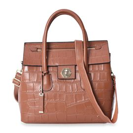 100% Genuine Leather Brown Colour Croc Embossed Tote Bag with Removable Shoulder Strap (Size 32x13x3