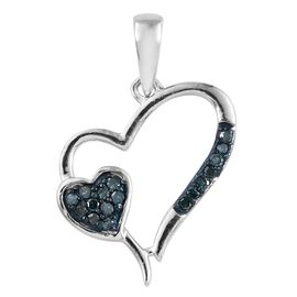 When Two Hearts Combine - Blue Diamond (Rnd) Heart Pendant in Platinum Overlay Sterling Silver 0.100 Ct.