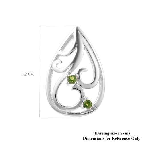 LucyQ Victorian Era Collection - Russian Diopside Stud Earrings (with Push Back) in Rhodium Overlay Sterling Silver