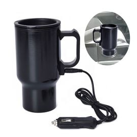Stainless Steel Electric Mug with Car Charger (Size 6.5x8x16.5 Cm) - Black