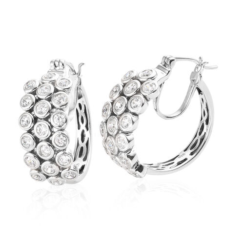 J Francis - Platinum Overlay Sterling Silver (Rnd) French Clip Earrings (With Clasp) Made With SWARO