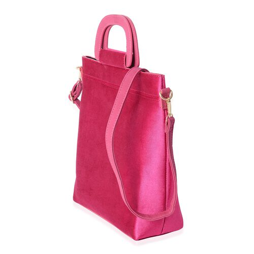 Luxe Velvet Hot Fuchsia Top Handle Bag with Removable Shoulder Strap(Size 31x31x26 Cm)