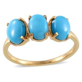 Arizona Sleeping Beauty Turquoise Trilogy Ring in 14K Gold Overlay Sterling Silver 2.000 Ct.