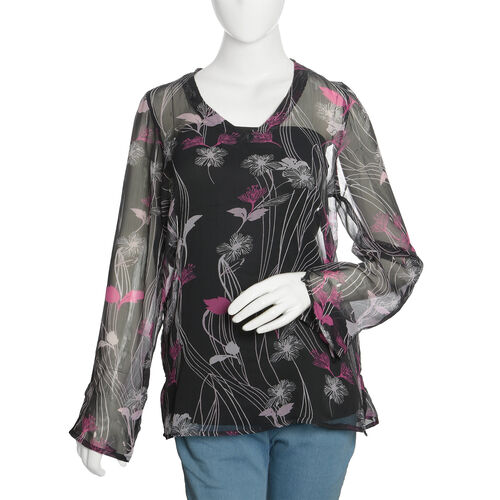 Black, Pink and Multi Colour Floral Printed Tunic (Size 70X50 Cm)