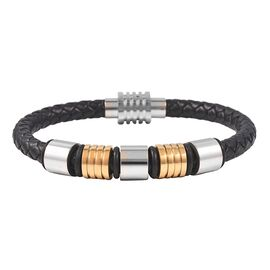 Genuine Braided Leather Bracelet (Size 7.5) in Dual Tone