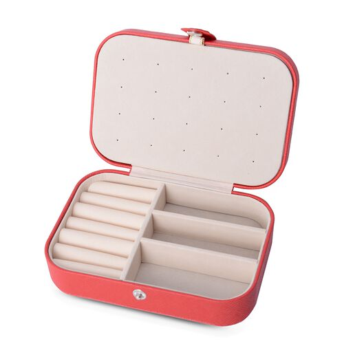Portable Jewellery Organiser with Button Closure and Earrings Plate, Ring, Necklace and Other Jewellery (Size 16.5x11.5x5.5 Cm) - Red